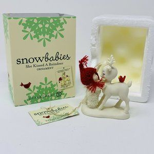 "RETIRED Dept. 56 Snowbabies ""She Kissed a Reindeer"